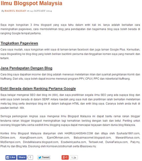 Kontes Ilmu Blogspot Malaysia - Hadiah Tunai RM400 - hasrulhassan.com