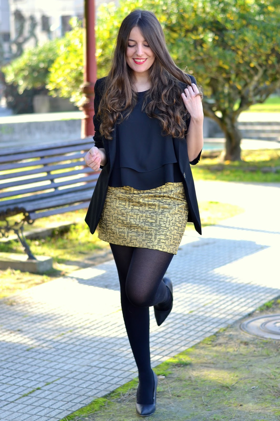 Mango golden skirt
