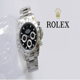 jam tangan keren ROLEX DAYTONA SILVER BLACK
