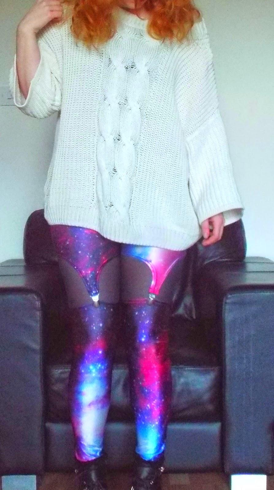 Cream Chunky Cardigan, Galaxy Suspender Leggings
