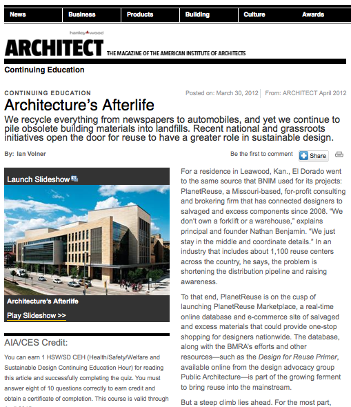 planetreuse architect magazine great article for the