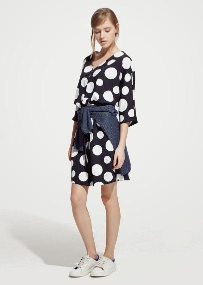 Mango 2015 Elbise Modelleri  puantiyeli desenli elbise, kısa elbise, yazlık elbise, nostaljik elbise, retro elbise