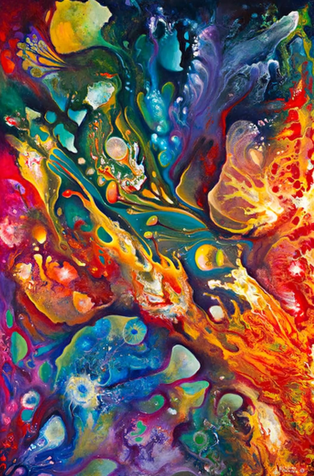 Cuadros pinturas oleos abstractos modernos pinturas de for Pintura para estanques de peces