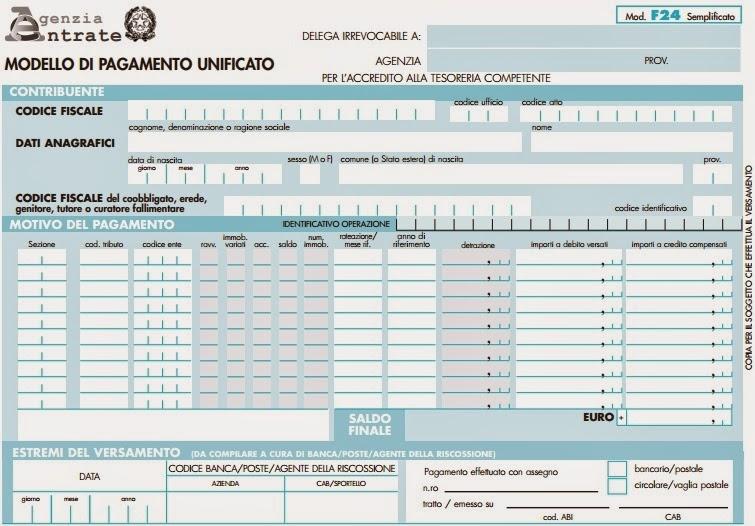 Pagare le tasse col modello f24 semplificato istruzioni - F24 elide istruzioni ...