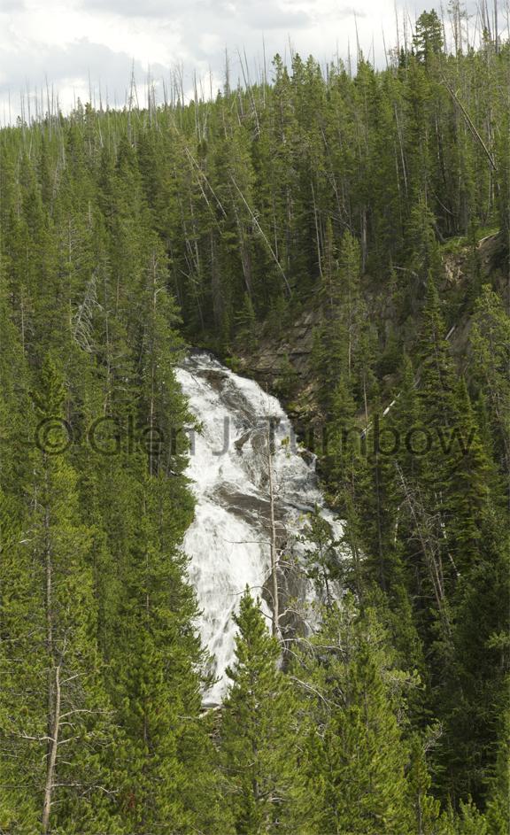 6 photo panorama - Virginia Cascade, Yellowstone National Park
