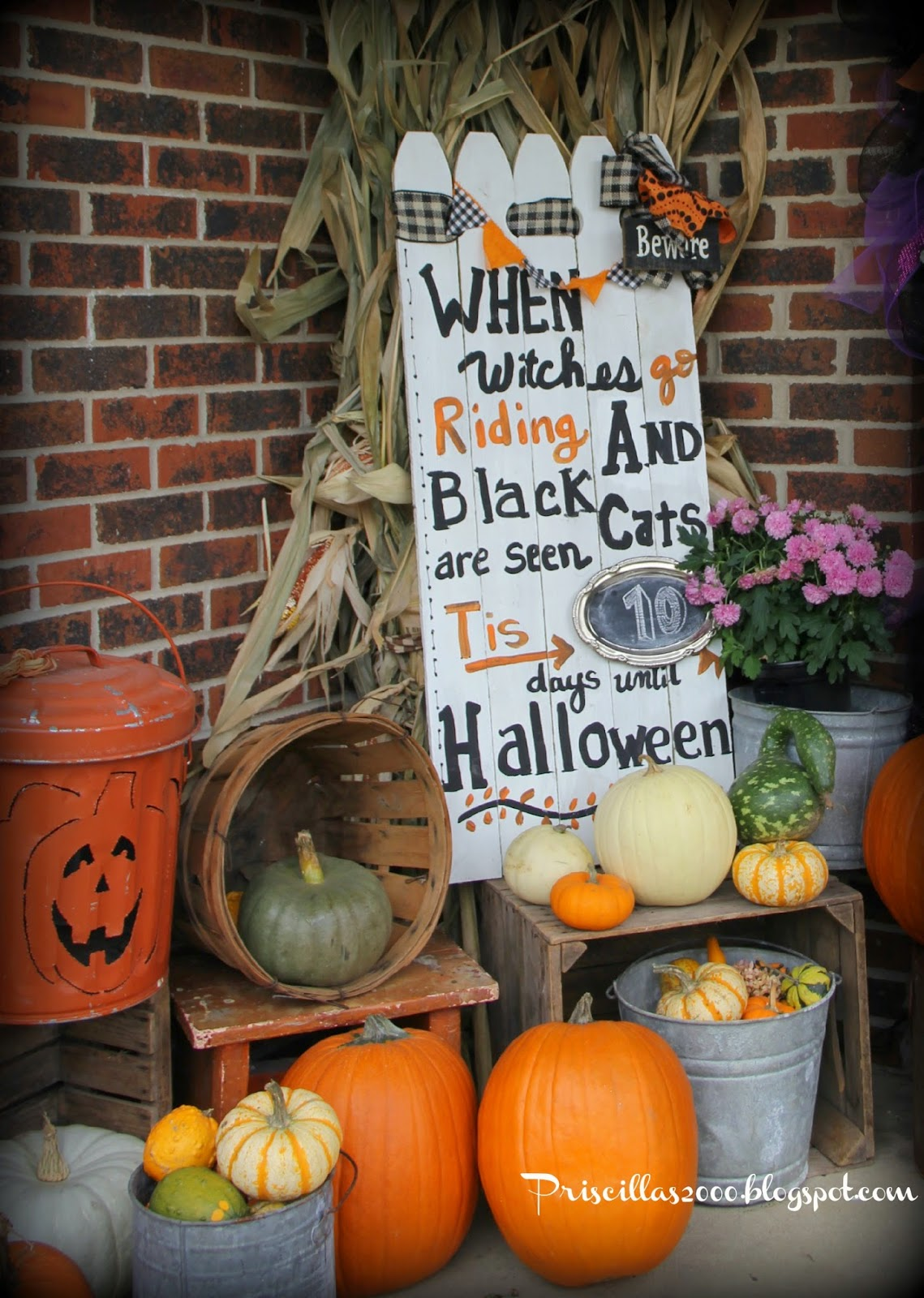 Pricilla's Halloween Front Porch Treasure Hunt Thursday Link Party From My Front Porch To Yours