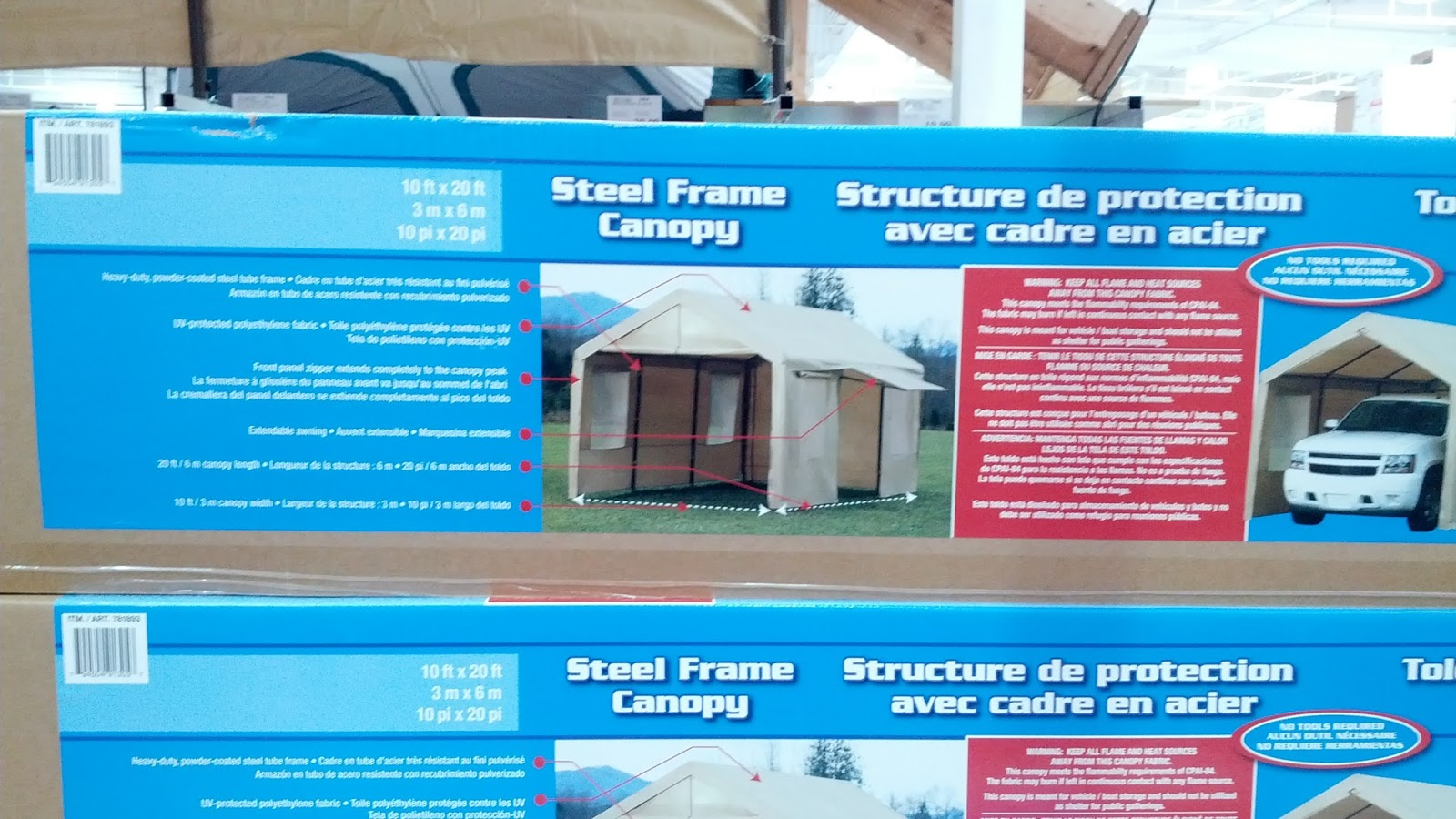 steel frame canopy with side walls for extra space outside