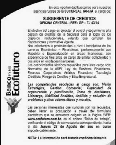Banco Ecofuturo busca un SubGerente de Créditos