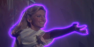Olivia Newton-John from Xanadu 1980 outlined in purple