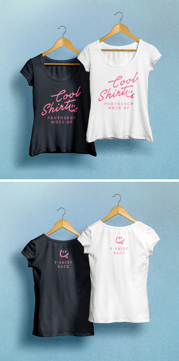 Download T-shirt Mockup PSD Terbaru Gratis - Woman T-Shirt MockUp PSD