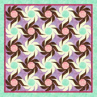 quilt layout example using the Swiss Daisy paper piecing quilt block pattern by Piece By Number