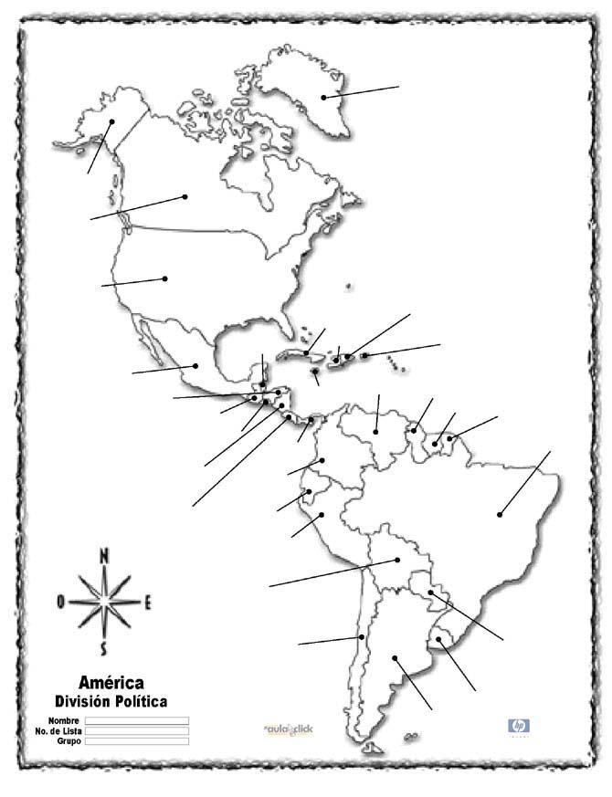 Mapa politico de america sin nombres - Imagui