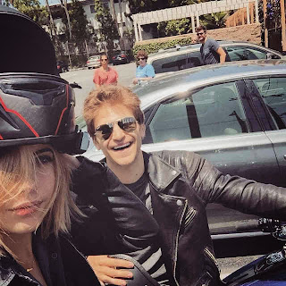 Ashley Benson and Keegan Allen ride motorcycle