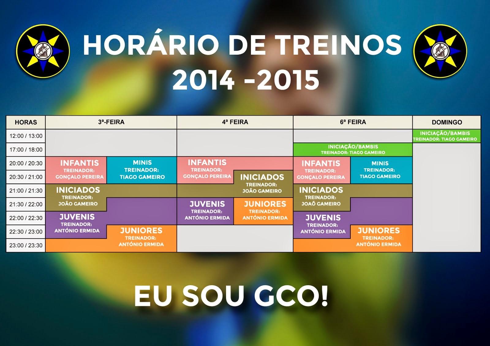 HORÁRIO DE TREINOS 2014-2015