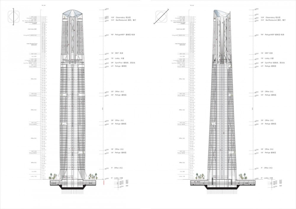 Architecture Corner Skyscrapers Haikou Tower By Henn