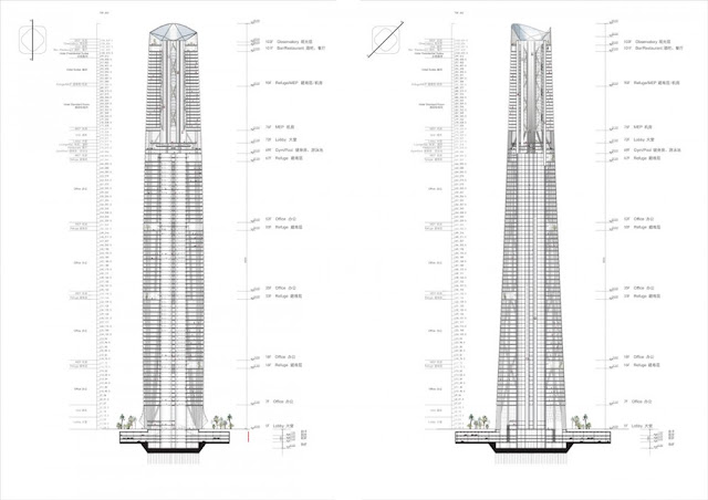 Diagrams of two different skyscrapers showing their floors