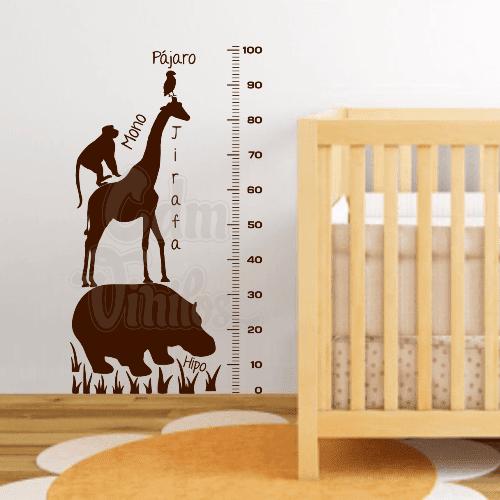vinilo decorativo infantil, medidor de altura, animales en vinilo