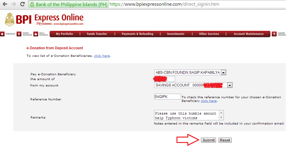 how to send money through bpi express online