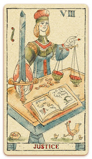 Justice card - Colored illustration - In the spirit of the Marseille tarot - major arcana - design and illustration by Cesare Asaro - Curio & Co. (Curio and Co. OG - www.curioandco.com)
