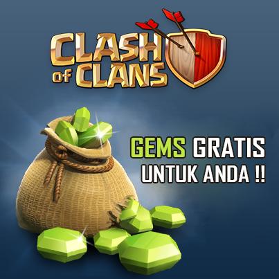 Cara Terbaru Mendapatkan Gems Gratis Clash of Clans