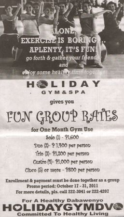 DIGGDAVAO Holiday Gym Spa