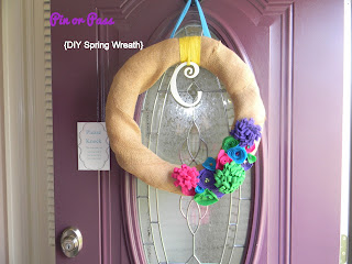 Finished product - Spring Wreath with Felt Flowers