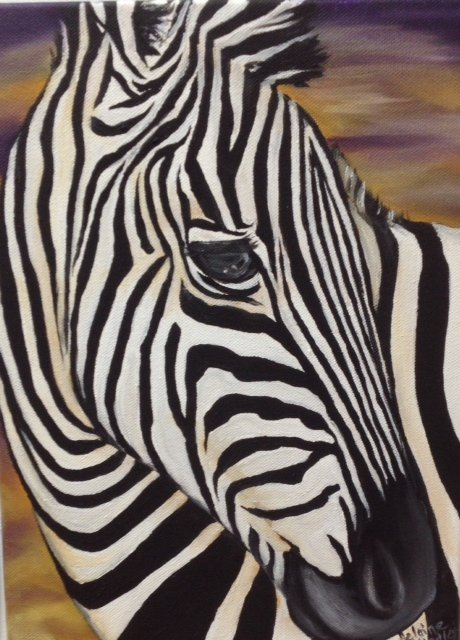 zebra, painting, oil, Helaine Hindley, Canadian Artist, Art Emporium, Port Stanley