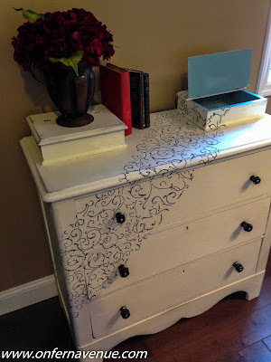 pine dresser makeover, how-to stencil a dresser