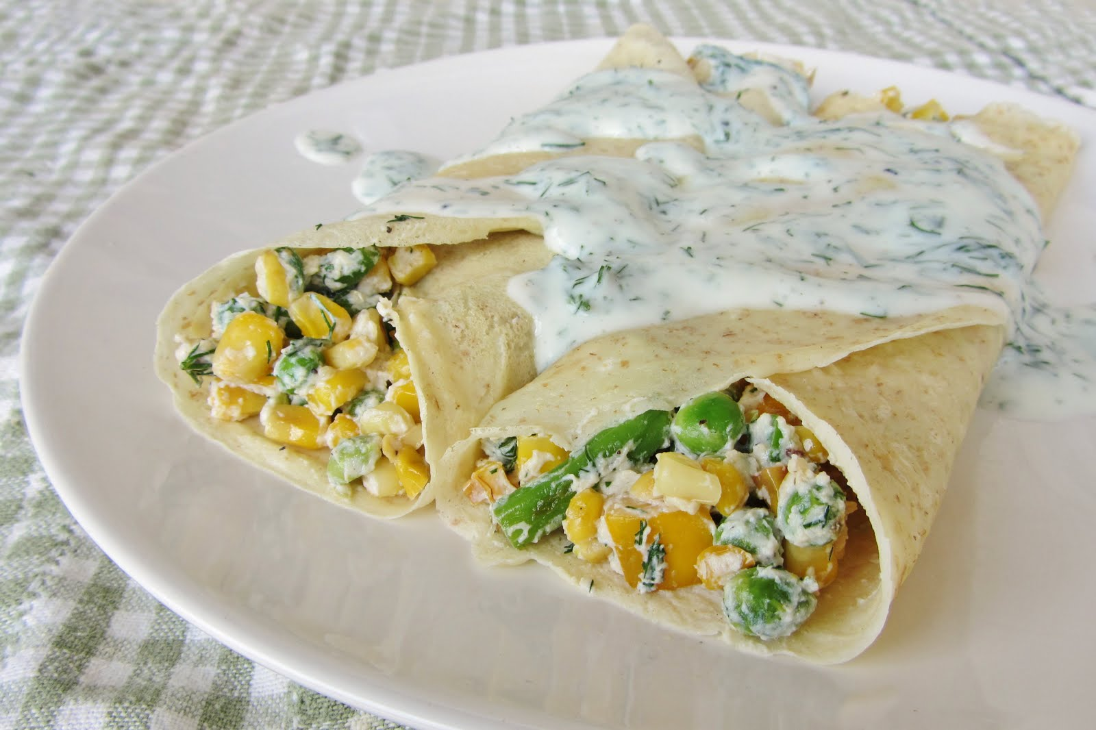 Summer Vegetable Crepes with Dill Yogurt Sauce