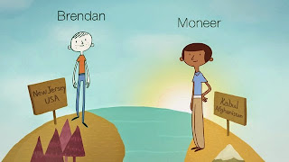 Animated picture of Pen Pals in different countries