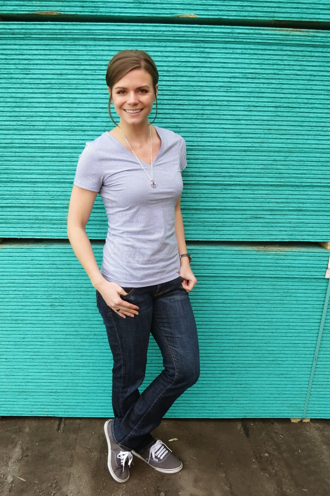 Striped V-Neck Tee and Sneakers