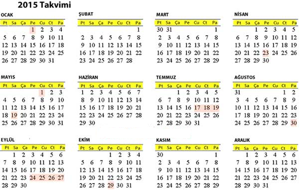2015 takvimi resmi tatiller