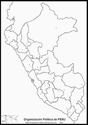 Mapa de la organización política de PERU, blanco y negro