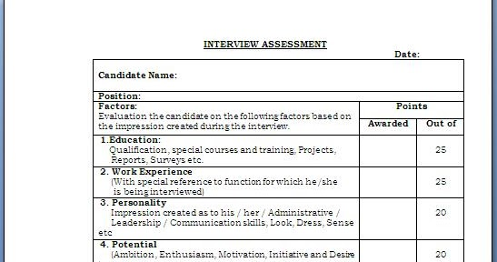 Interview Evaluation Form. Mock Interview Assessment Form 12+