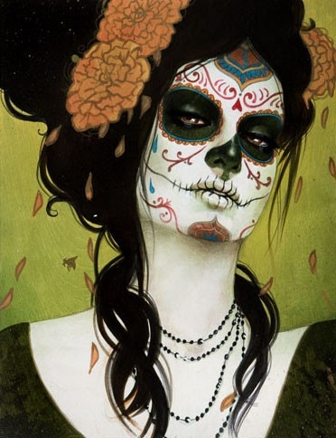 Sugar Skull Pin Up http://gabb-cherryrat.blogspot.com/2011/10/halloween-sugar-skull.html