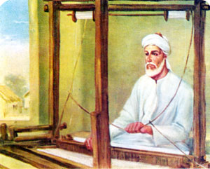 white haired,seated man with turban, weaving