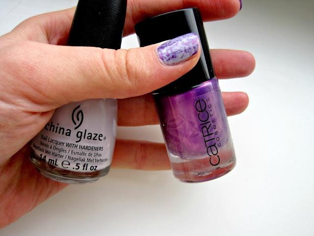 china glaze light as air catrice heavy metallilac saran wrap manicure nails swatch