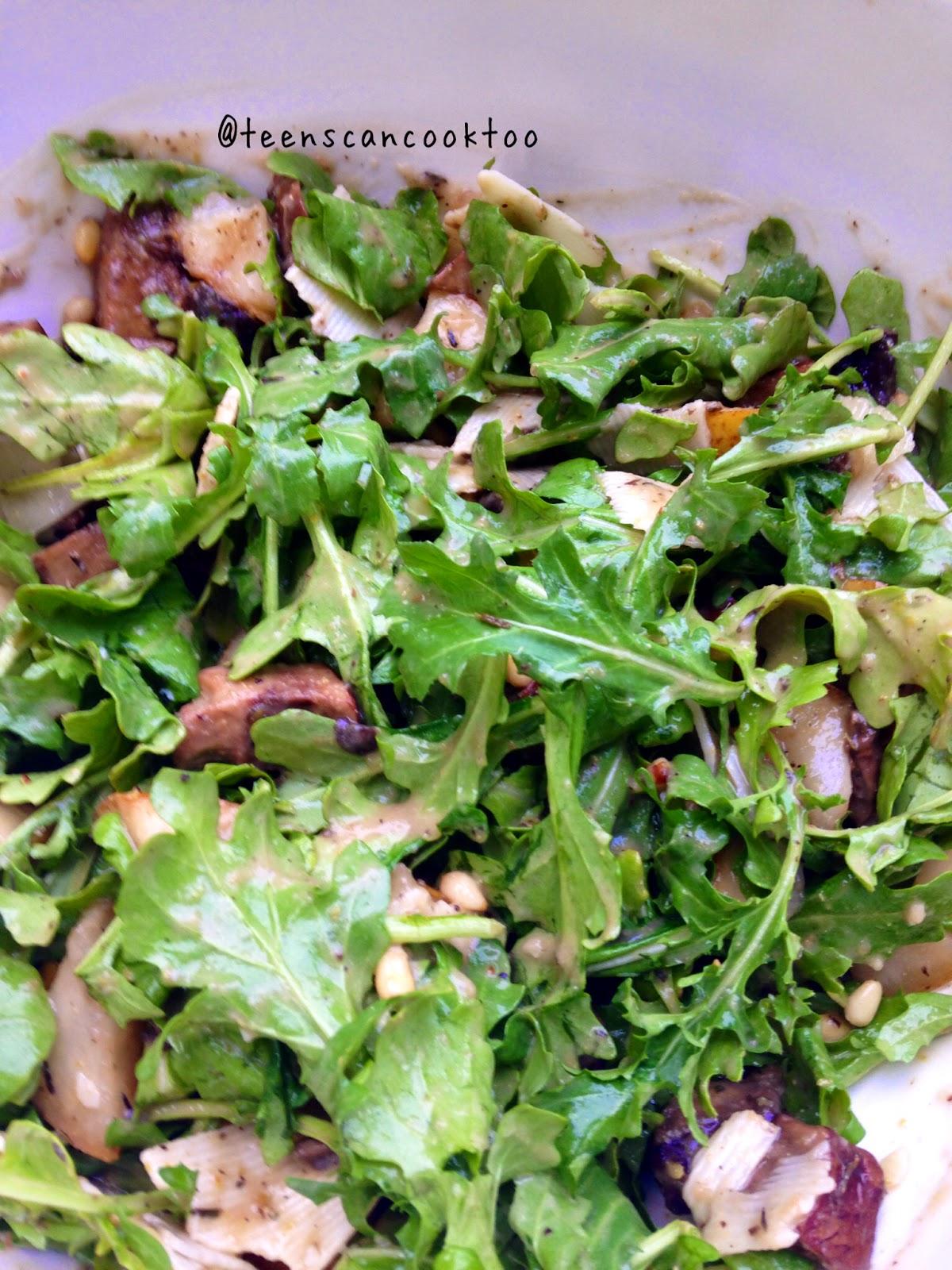 Warm Arugula Salad with Portobello Mushrooms and Pears