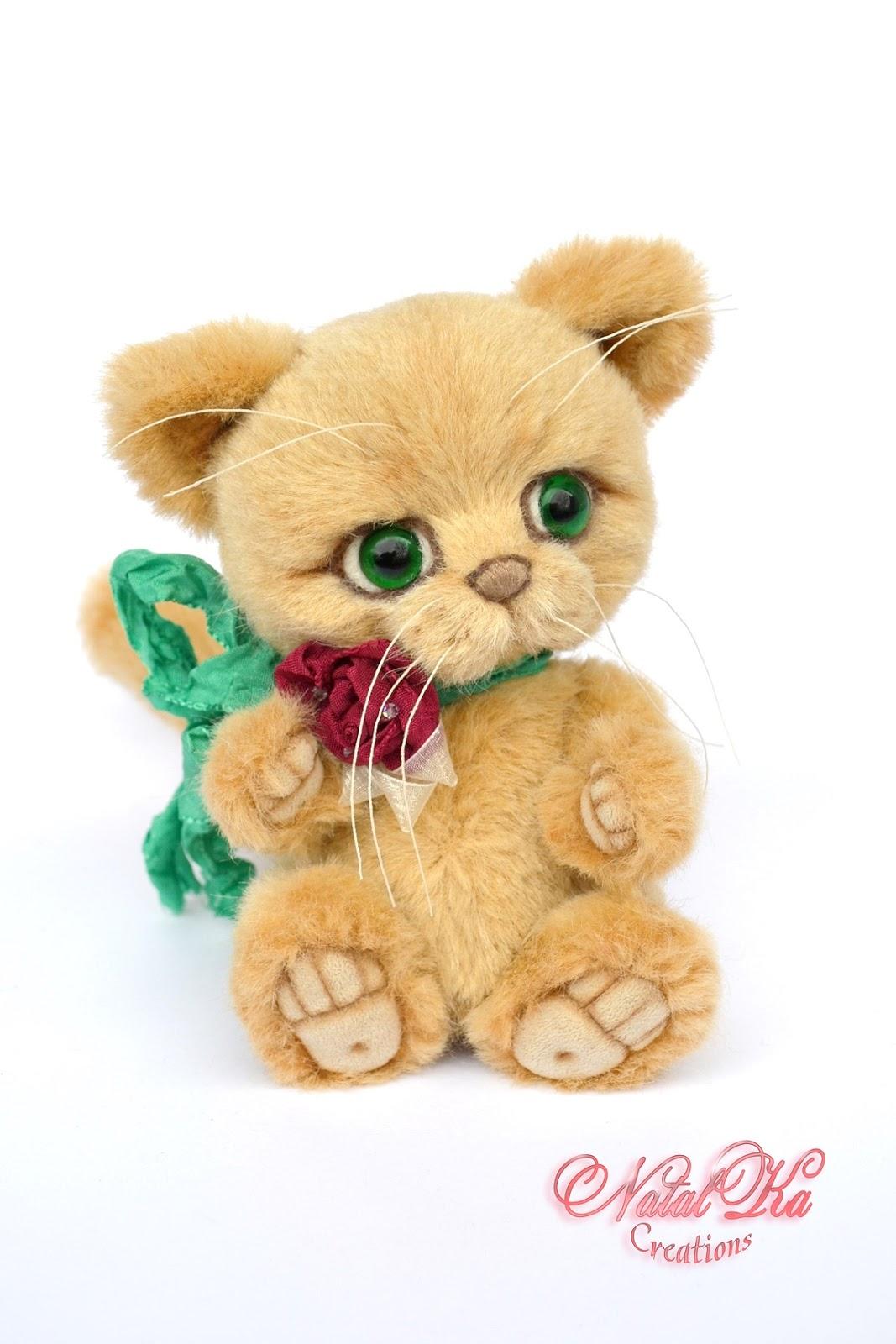 Авторский кот тедди, котенок тедди, artist teddy cat, teddy kitty, ooak teddy, handmade teddy, jointed, Künstlerteddy, Künstler Kater, Teddy Katze, handgemacht von NatalKa Creations
