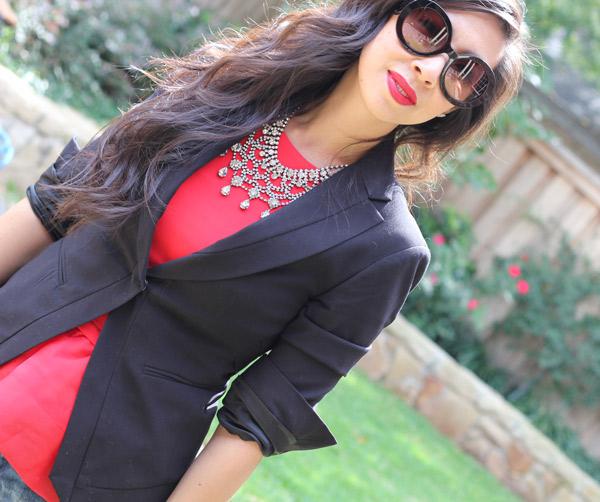 bcbg mitra jacket, h&m peplum top, Zara crystal bib necklace, Zara boyfriend jeans, Lanvin for H&M heels, Prada baroque sunglasses, vintage Chanel camera bag, red lipstick