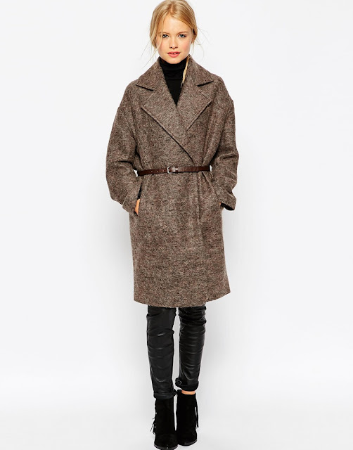 brown belted coat, brown wool coat,