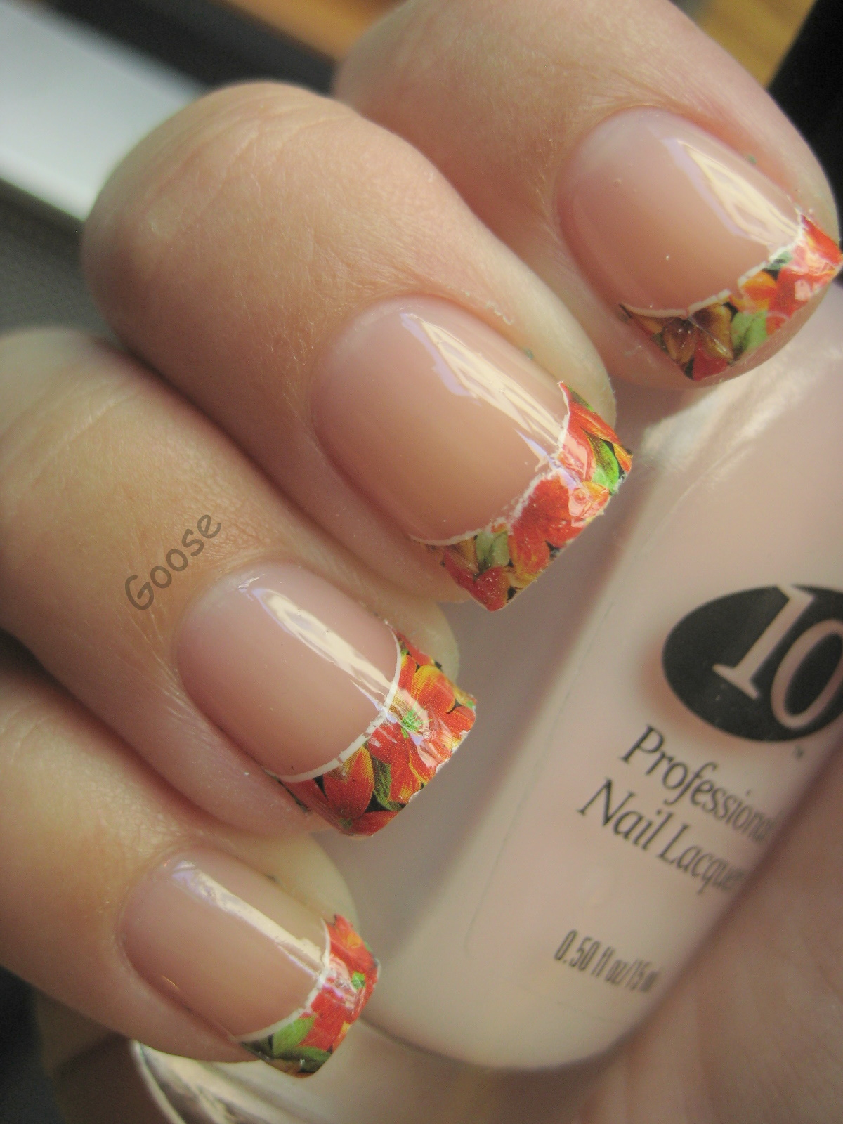 Gooses Glitter Nil Water Decals French Tip Nail Art Wdb069