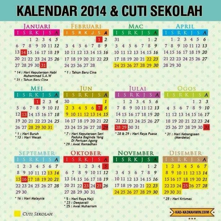 Kalendar 2014 & Cuti Sekolah