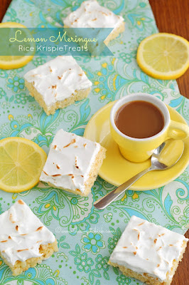 Lemon Meringue Rice Krispie Treats from The Sweet Chick