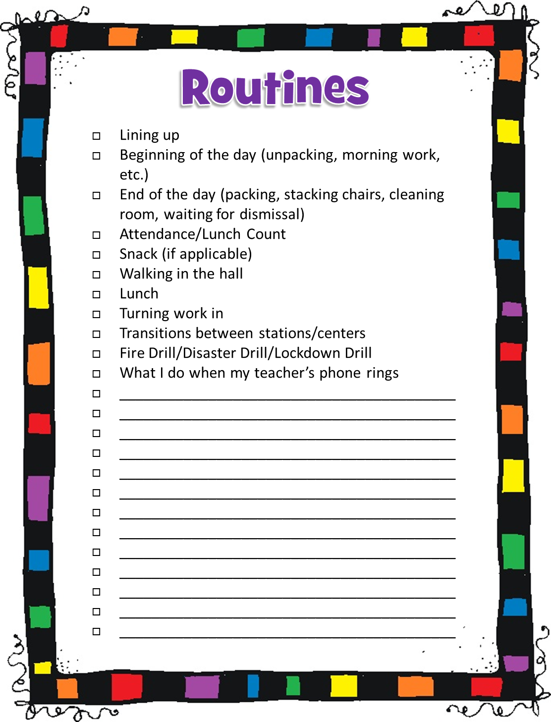 Classroom Routine Ideas ~ I love teach back to school success kit