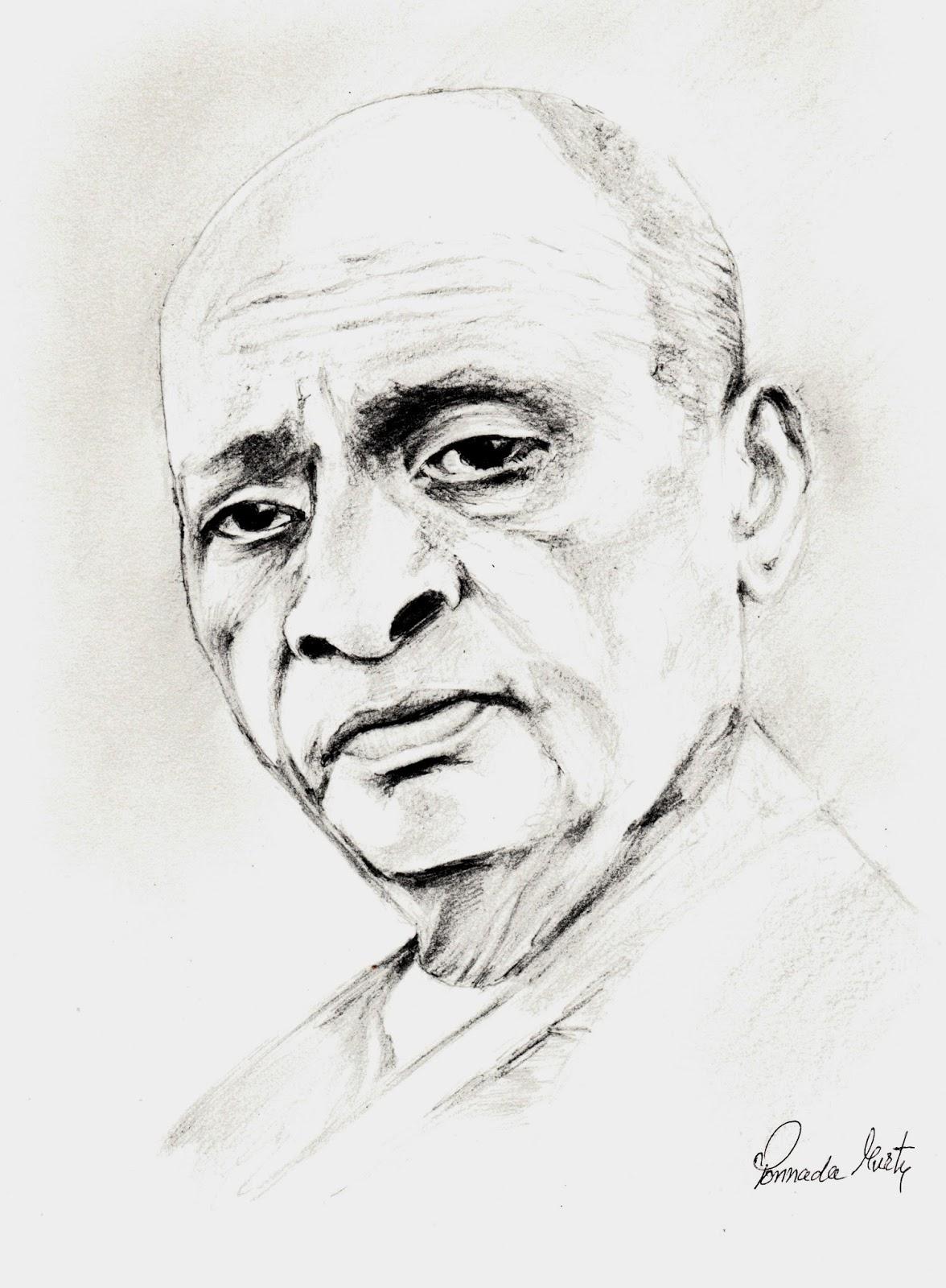 Sketches And Drawings  Sardar Vallabhbhai Patel - Birth Anniversary - Pencil Drawomg