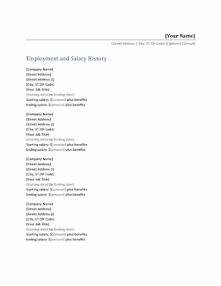 Resumen template with employment and salary history list, Word