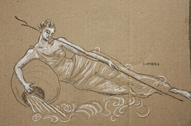 drawing, figurative, conte, charcoal, sketch, study, art, artist, arte, cardboard, brown, map, ocean, sea, woman, oceanid, water, allegorical, personification, S. Myers, Sarah Myers