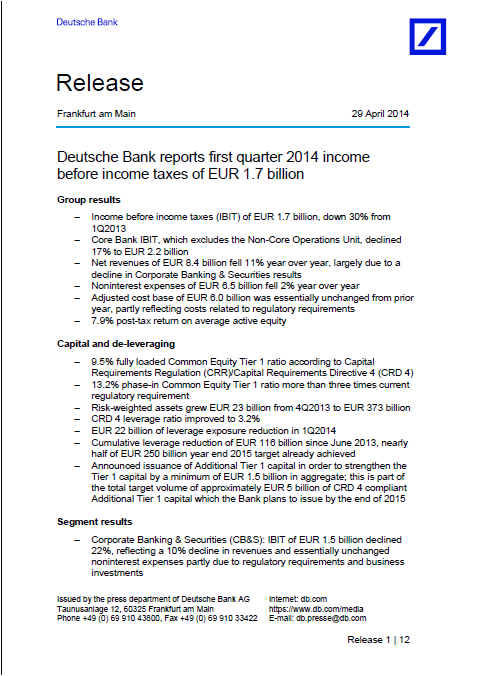 front page, DB, report, Q1, 2014