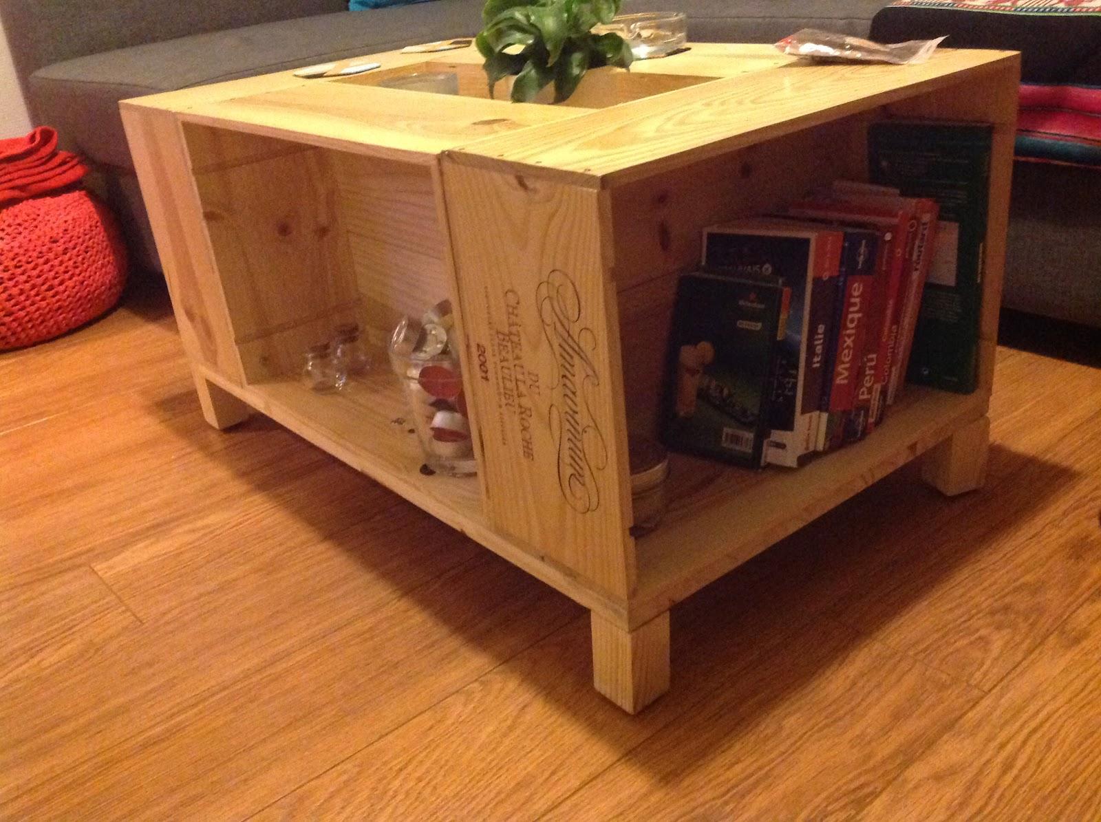 La rosa rose caisses vin ou table basse - Table basse avec des caisses en bois ...